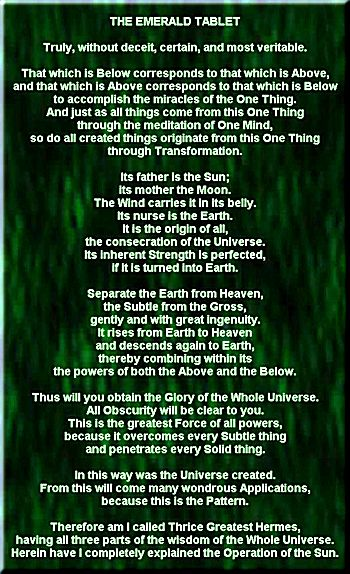 emerald tablet, new translation, site credit: www.alchemylab.com/emerald_tablet
