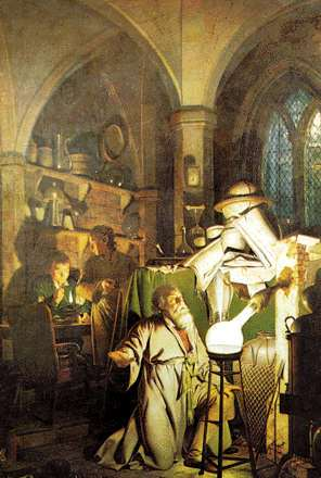 and it shows the alcheHenning Brand discovers phosphorus by Joseph Wright .