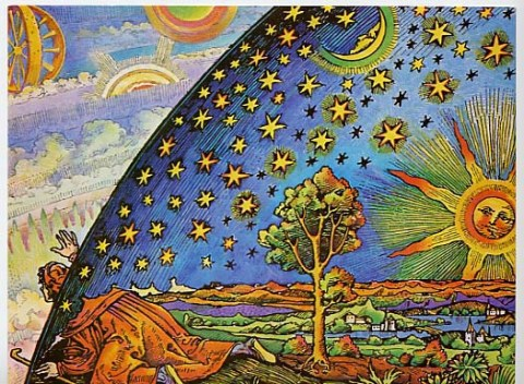 The Spiritual Pilgrim (16th Century German woodcut), alchemy, art, alchemical woodcut, recolored by: Roberta Weir, site source: www.kvmagruder.net/flatEarth/examples