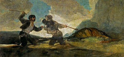 "by: Francisco_de_Goya, ""Two Men Fighting with Clubs"""