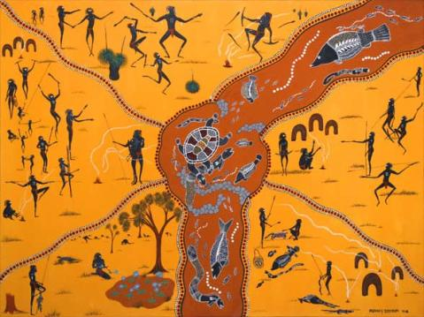 by: Peter Muraay Djeripi Mulcahy, Wayamba_the_Turtle, site credit: http://www.aboriginalaustralianart.com/dreamtime_art.php