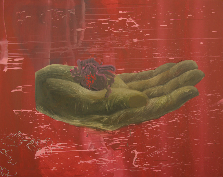 Heart in Hand by: Małgorzata Wielek-Mandrela, site credit: http://www.saatchiart.com/art/Painting-Heart-in-hand/389735/1545830/view