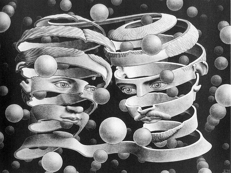 M.C. Escher, unraveling faces