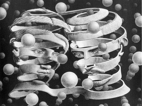 M.C. Escher, unraveling faces