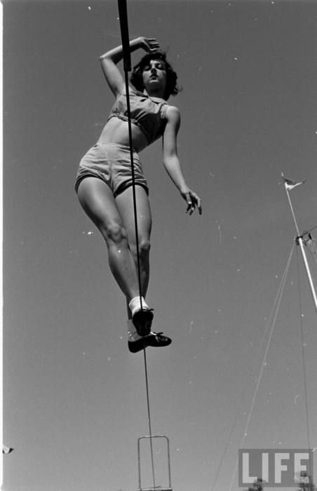 Florida State University student practicing on the tightrope, photo: Loomis Dean, 1952