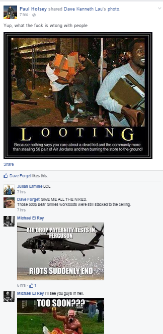 negative reactions to Ferguson looting Racist