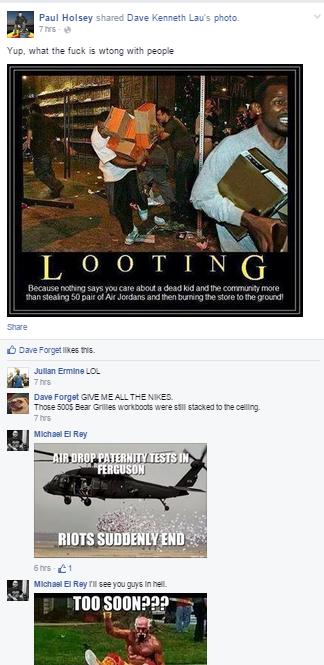 negative reactions to Ferguson looting Racist