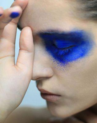 modern make-up, blue eyeshadow, art make-up, creative color, blue