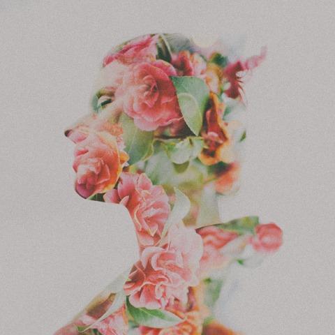 self-love, roses blooming inside silhouette, double exposure, flowers
