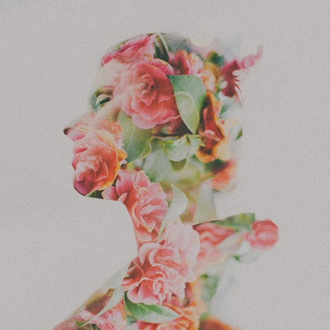 self-love, roses blooming inside silhouette, double exposure, flowers