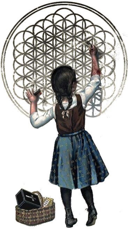 child painting a flower of life