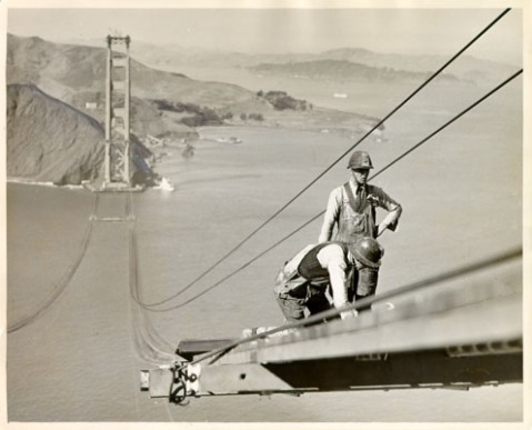 bridge building art http://untitledarchive.tumblr.com/post/23998993454/motherjones-happy-birthday-golden-gate-bridge