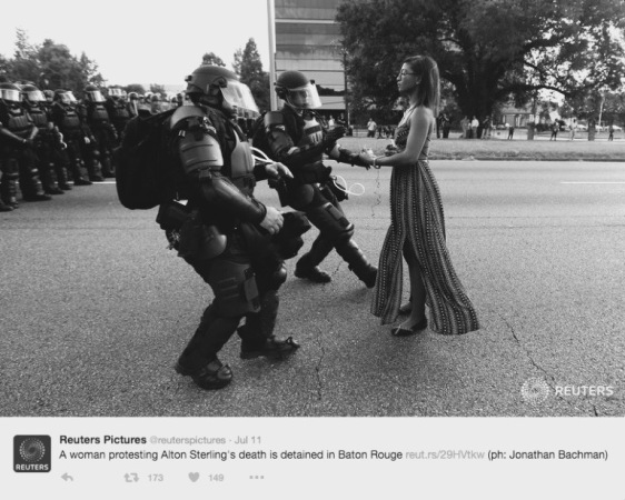 black and white photography, political art, http://hyperallergic.com/311570/an-art-historical-perspective-on-the-baton-rouge-protest-photo-that-went-viral/ black lives matter