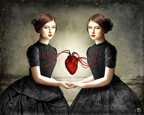 christian-schole-twin-heart, empathy, self-love, self-care artwork